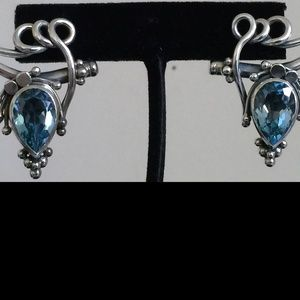 Suarti Jewelry - Suarti Sterling Silver 925 & Topaz Blue Earrings